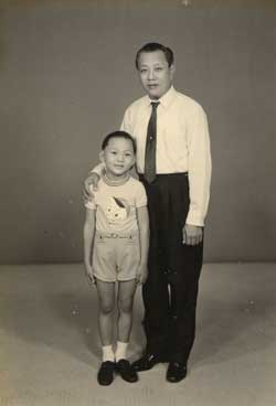 The writer and his father in 1972.
