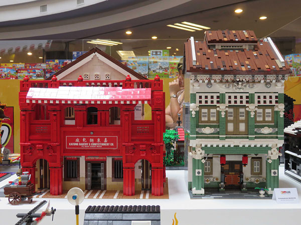 Photo shows Lego replicas of heritage buildings in Singapore and Penang.