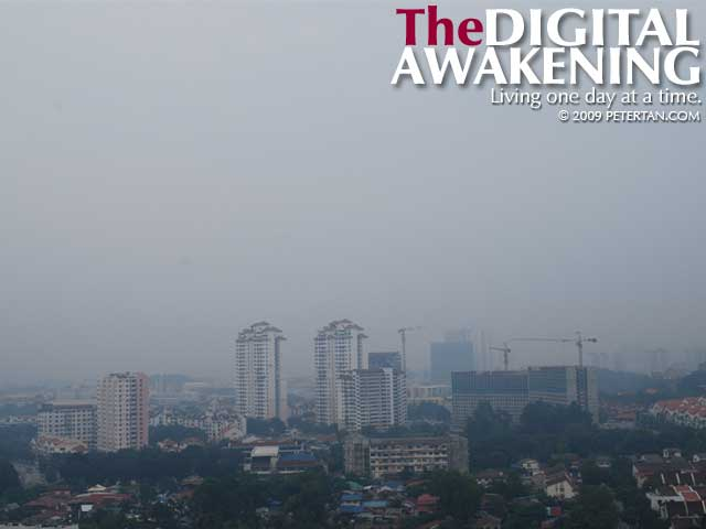 Haze in Penang as viewed from Taman Pekaka