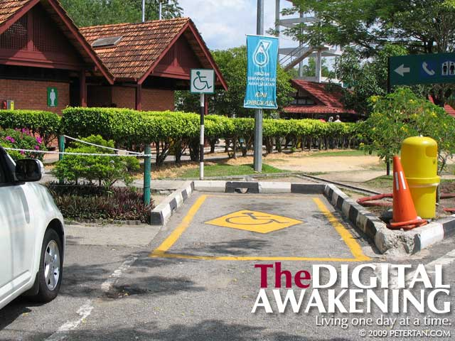 Parking space that is too narrow for disabled people at Simpang Pulai lay by southbound