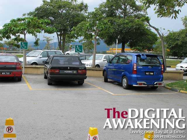 Accessible parking space at Tapah Rest and Service Area northbound